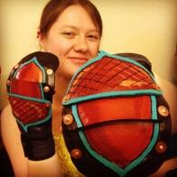 Leather slip-on gauntlets for Belegarth/Amtgard Medieval Combat Sport. Designed for MMA bag gloves)