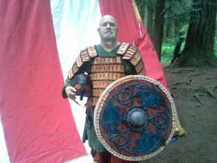 """Celtic Ravens"" shield with it's proud new owner."
