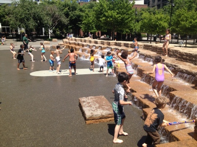 The kids enjoy the fountain in Portland.